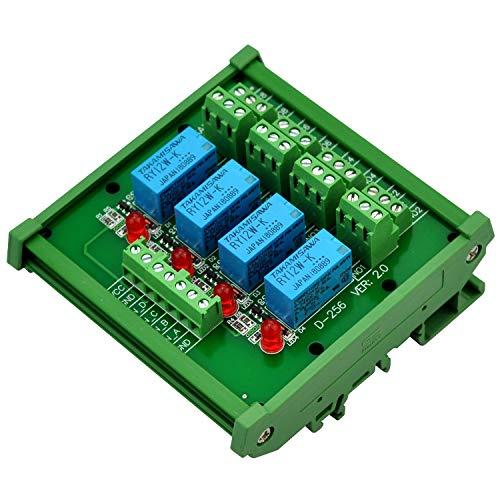 Electronics-Salon Montage sur rail DIN 4 Module d'interface de relais de signaux DPDT, version DC12V.