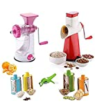 #6: HKC House Heavy Manual Fruit and Vegetable Juicer +New 4 in 1 Drum Grater Shredder Slicer Plastic, Steel Hand Juicer Multicolor Kitchen Tool Set Combo