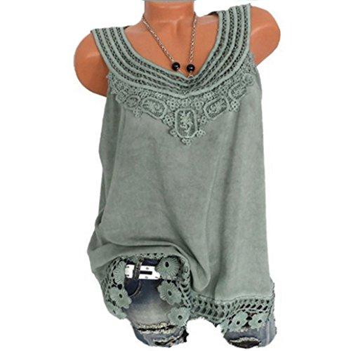 Hevoiok Sommer Ärmellos Shirt Weste Damen Fashion Sexy Reine Farbe Spitze Tank Top T-Shirt Sexy Fraun Oberteile Locker Oversize Bluse S-5XL (Grün, XL)