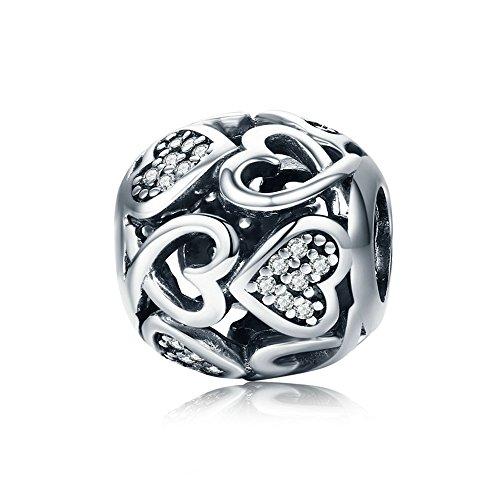 LILIMO Liebe S925 Silber Weiß Kristall Anhänger DIY Serpentin Armband Zubehör Charm Schmuck
