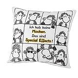 Sheepworld 42214 Baumwoll-Kissen mit Spruch Ich habe keine Macken, das sind Special Effects, Geschenk-Kissen, 40 cm x 40 cm