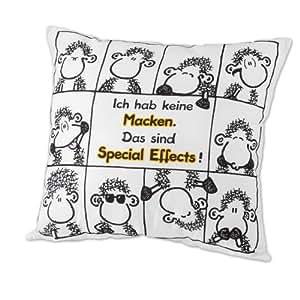 """Sheepworld 42214 Baumwollkissen """"Ich habe keine Macken, das sind Special Effects!"""", 40 cm x 40 cm"""