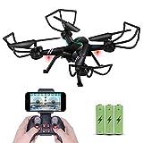 RC Drone avec caméra pour Adultes, FPV Quadricoptère Avion WiFi vidéo en Direct Altitude Hover 3D VR 2.4 GHz 6Axis gyro Mode sans tête APP télécommande pour iPhone Android