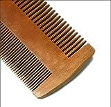 JIJIHAO Shuzi Peigne à Dents Double en Bois de Santal Peigne Double Face en Bois et Peigne pour Dames Peigne Fait Main Antistatique Format de Poche avec Barbe Naturel (12.0 cm * 8.0 cm * 0.9 cm)