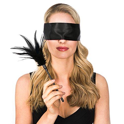 Hochwertige Erotik Augenbinde mit extra weichem Federkitzler - Perfektes Set zur Verführung - Blickdichte Sex Fetisch Augenmaske in Schwarz/Rot mit Feder Kitzler - BDSM Spielzeug Set für Paare