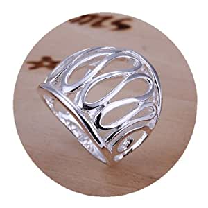 DUMAN Silver Plated Ring Fashion Jewelry Thumb Hollow Ring Valentine's day, Christmas Gifts Size Q