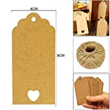 JJOnlineStore, 100 pezzi, colore: marrone/kraft Etichette di carta per bagagli, da appendere, stile matrimonio Craft-Price Tag Labels, Gardman-Spago di iuta Brown Rectangular Heart