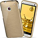moex HTC One M7 | Hülle Silikon Gold Brushed Back-Cover TPU Schutzhülle Ultra-Slim Handyhülle für HTC One M7 Case Dünn Silikonhülle Rückseite Tasche