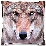 Bestlivings Kissenbezug Fotodruck Motiv in 40x40 cm, Flauschig weiche Kissen-Hülle in vielen Motiven erhältlich (Design: Wolf)
