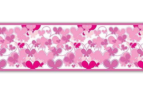 Kleisterbordüre 'Schmetterlinge Pink', 4-teilig 520x15cm, Tapetenbordüre, Wandbordüre, Borte, Wanddeko,Muster, rosa
