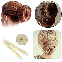 Colossy 2Pcs Hair Bun Shaper, Fashion DIY Doughnuts Hair Bun Making Curler Roller Tool, Former Donut Ring Styler, Bun Snap Band, DAXUN Hair Band Accessory Beige 2 Styles