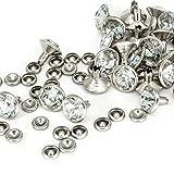 10mm Diamant NIET BOLZEN FÜR Leder Basteln mit bunt Acryl Strass - perfekt für Riemen, Taschen oder Hundehalsband von Trimming Shop (Packung von 50) - Silbern, 10mm