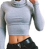 Sweatshirt Damen, Brawdress Mädchen Herbst Winter Rollkragenpullover Bluse Bauchfrei Hemd Tops (S, Schwarz)