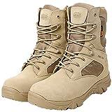 LiliChan Männer Taktische Stiefel Delta Side Reißverschluss Military Work 8 Zoll Armee Schuhe (44, Bräune)