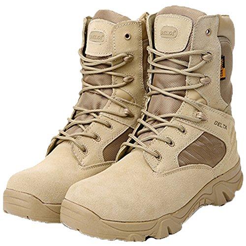 LiliChan Männer Taktische Stiefel Delta Side Reißverschluss Military Work 8 Zoll Armee Schuhe (43, Bräune) (Jungen Braune Schuhe)