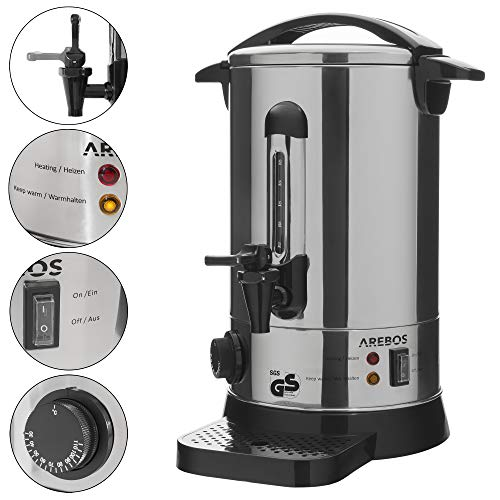 AREBOS Glühweinkocher/Edelstahl/mit Auslasshahn, Thermostat und Überhitzungsschutz/inkl. Auffangschale/Temperatureinstellung von 30-110°C / 9 L