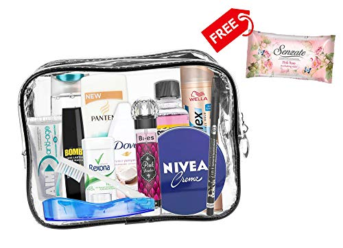 A2S 13 teiliges Komfort-Reiseset für Damen, Reise Wesentliches, Urlaubs- und Geschäftsreisen, bestehend aus Allen notwendigen Körperpflegeprodukten in einem PVC-Kosmetikkoffer. Kabine genehmigt.(B) -