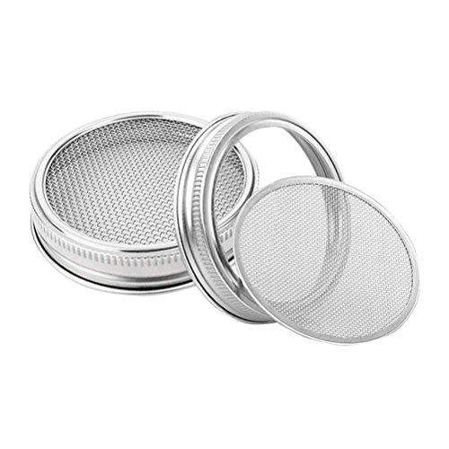 (BESTONZON 2Edelstahl Etablieren Deckel für Wide Mouth Mason Gläser für die Samen zu Bio Sprout in Haus und Küche 8,4cm)