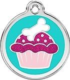Hundemarke Edelstahl GLITTER 'Cupcake' inkl. Gravur, mittel