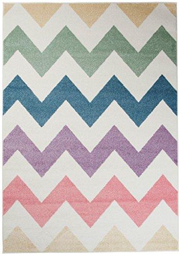 Teppich Kinderzimmer Jungen - Kinder Jugendzimmer Wohnzimmer - Designer Geometrisch Mehrfarbig - Pastellfarben