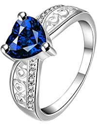 Yellow Chimes Blue Heart Beauty Austrian Crystal Sterling Silver Ring for Girls and Women