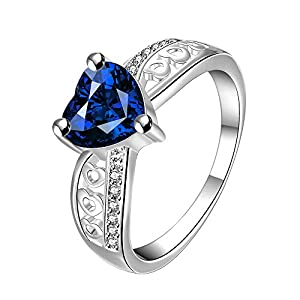 Blue Heart Beauty Austrian Crystal 925 Silver Plated Designer Ring for Girls by YELLOW CHIMES