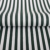 Hans-Textil-Shop Stoff Meterware Streifen 5 mm Dunkelgrün Baumwolle