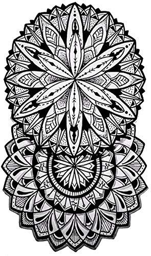 Tatuajes temporales de doble roseta mandalas para hombre y mujer, tatuaje temporal, 21 x 15 cm