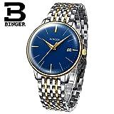 Binger Mechanical Automatic Sapphire Waterproof Wristwatch (Blue and Gold)
