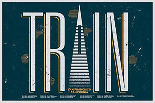 Tour Großes Poster (Train - Tour Poster - Musikposter Alternative Rock - Grösse 91,5x61 cm + Wechselrahmen der Marke Shinsuke® Maxi aus Kunststoff Türkis - mit Acrylglas-Scheibe.)