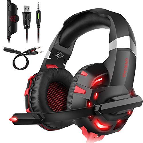 Headset PC,DIZA100 K2 Gaming Kopfhörer für PS4 PC Xbox One,LED Light,Mikrofon,Bass Surround (Rot)
