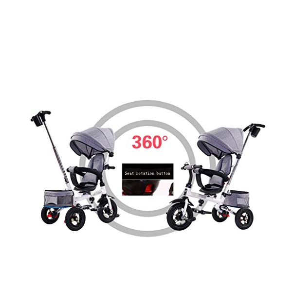 Folding Kids Ride-on Tricycle for Children with Sun Canopy, with 360° Rotating and Reclining Seat (Color : Gray) DUOER-Pushchairs Features assembled canopies without worrying about rain and sunshine,Safety features and safety belts are provided for safety. The pedal can be folded for more convenient use: the pedal can be folded to make travel more convenient. Upgrade the thickened sponge pillow to protect the baby's head and make the baby ride safer. 3