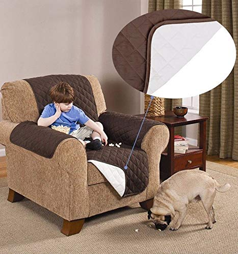 Esclusivo copripoltrona sofa reversibile trapuntato - coat double-face lavabile in lavatrice couch trapuntata anallergico antiacaro 1 posto universale colore beige marrone 088