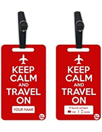 Personalized Designer Luggage Travel Baggage Tags From Nutcase - SET OF 2 TAGS - KEEP CALM AND TRAVEL ON - RED