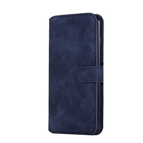 Cover iPhone 7 Plus,iPhone 8 Plus Coque,Valenth [Pu Leather] Portefeuille retro Coque Etui [Stand Feather] Flip Coque avec embouts pour iPhone 8 Plus / iPhone 7 Plus Blue