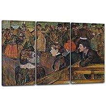 Henri de Toulouse-Lautrec - Bola en el Molino de Galette, 120 x 80 cm (3 x 40x80cm) (varios tamaños disponibles), Impresión de la lona enmarcada en el marco de madera genuino y listo para colgar, impresión de alta calidad hecha a mano. Estilo: Postimpresionismo, Art Nouveau, Arte moderno, impresionismo, surrealismo