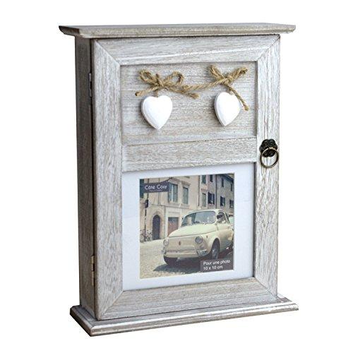 Caja para llaves, 6 ganchos, con marco para fotos, aspecto desgastado, 29 x 22 x 8 cm