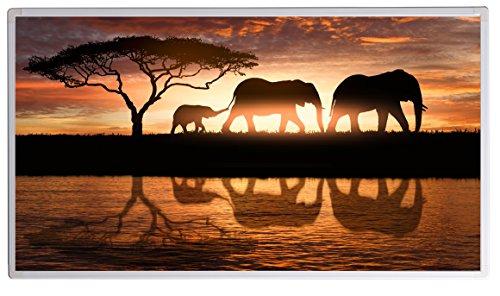 Bildheizung Infrarotheizung mit Digitalthermostat für Steckdose - 5 Jahre Herstellergarantie- Elektroheizung mit Überhitzungsschutz - TÜV geprüft - (Elefantenfamilie im Sonnenuntergang in Afrika;600W)