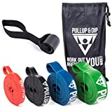 Fitnessbänder Widerstandsbänder von Pullup & Dip mit Tasche und gratis Übungsanleitung - Klimmzugband Widerstandsband Pull Up Resistance Band – Fitnessband Klimmzughilfe in 4er-Set (EXTRA LIGHT + LIGHT + MEDIUM + STRONG)