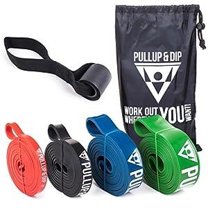 PULLUP & DIP Fitnessbänder Widerstandsbänder mit Tasche, Türanker (bei Sets) und Übungsguide – einzeln & im preiswerten Set, Klimmzugband Fitnessband für Calisthenics, Crossfit, Freeletics