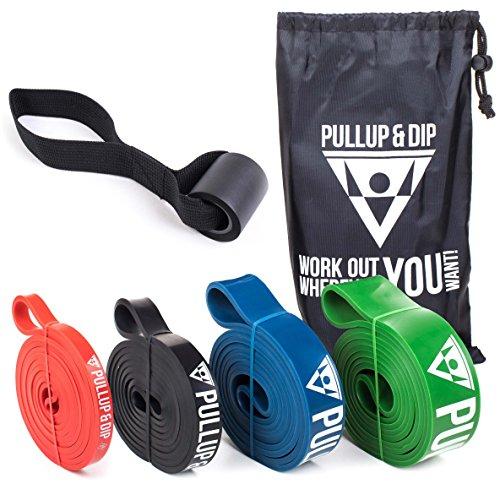 PULLUP & DIP Fitnessbänder Widerstandsbänder Tasche und gratis Übungsanleitung - Klimmzugband Widerstandsband Pull Up Resistance Band - Fitnessband Klimmzughilfe in 3er-Set (Light + MEDIUM + Strong)