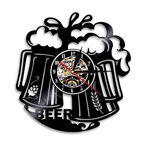 HHYXIN Schallplatte Wanduhr Es Ist Bier Uhr Personalisierte Schallplatte Wanduhr Bier Tasse Dekorative Bunte Led Beleuchtung Uhr Moderne Bar Dekor,12 Zoll
