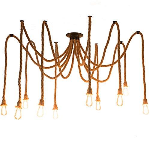 EA-Miao E27 Hanfseil Mehrere Lichter Halter Kreative Antike Klassische Edison Lampe Einstellbare DIY Decke Spinne Lampe Licht (Keine Lampen) (10 Lichter) - Keine Decke Lampe