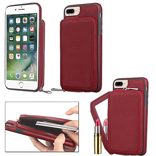 Retro stilvolle PU-lederne Fall-Mappen-rückseitige Abdeckung mit großer Kapazitäts-Reißverschluss-Beutel-Shell-Abdeckung für iPhone 6 Plus u. 6s Plus ( Color : Gray ) Red