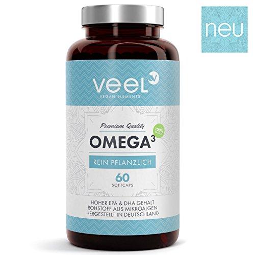Omega 3 Kapseln Vegan mit Vitamin E – Ohne ekligen Fischgeschmack | Algen-Öl hochdosiert 300 mg EPA & 600 mg DHA |Die pflanzliche Alternative zu Fischöl-Kapseln | VEEL Omega 3 – 60 Soft Caps