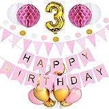 SeHan Geburtstagsdeko für Mädchen und Jungen ab 1 bis 9 Jahre, Rosa (geburtstagsdeko 3 Jahre)