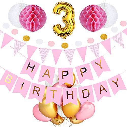 SeHan Geburtstagsdeko für Mädchen und Jungen ab 1 bis 9 Jahre, Rosa (geburtstagsdeko 3 Jahre) (5 8 Band Gold-glitter)