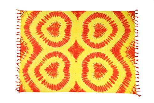 45 Modelle Sarong Pareo Wickelrock Strandtuch Tuch Wickeltuch Handtuch Gratis Schnalle Schließe Design by El-Vertriebs GmbH Herz Rot Orange Gelb SH1