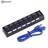 Generic Black : Rondaful New 7 Ports USB Hubs Charger USB 3.0 Super Speed 5Gbps USB Splitter With On/Off Switch For Computer Peripherals