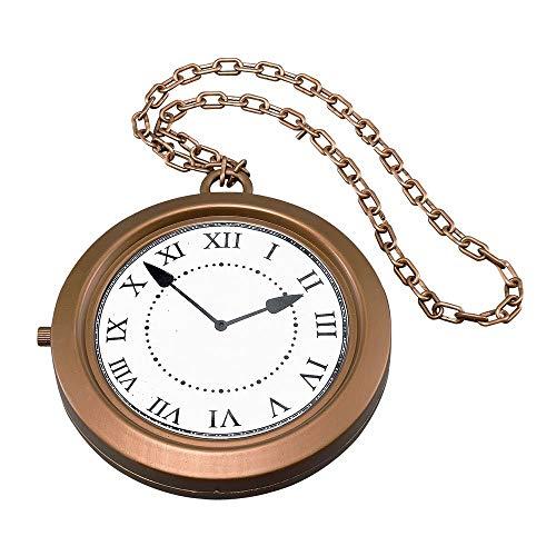 Sofias Closet Fancy Dress Giant Jumbo Clock Necklace Pocket Watch Rapper White Rabbit - Golden Fairy Kostüm